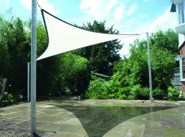 Triangle Shade Structure / Triangular Shade Sail Canopy Installed image